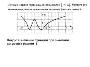 Найдите значение функции при значении аргумента равном 5