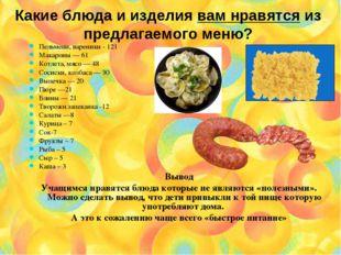 Какие блюда и изделия вам нравятся из предлагаемого меню? Пельмени, вареники