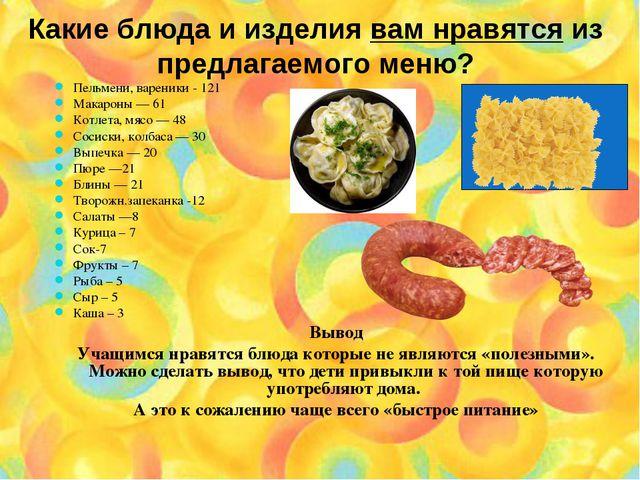 Какие блюда и изделия вам нравятся из предлагаемого меню? Пельмени, вареники...
