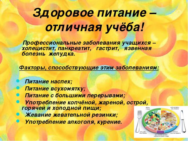 Здоровое питание – отличная учёба! Профессиональные заболевания учащихся – хо...
