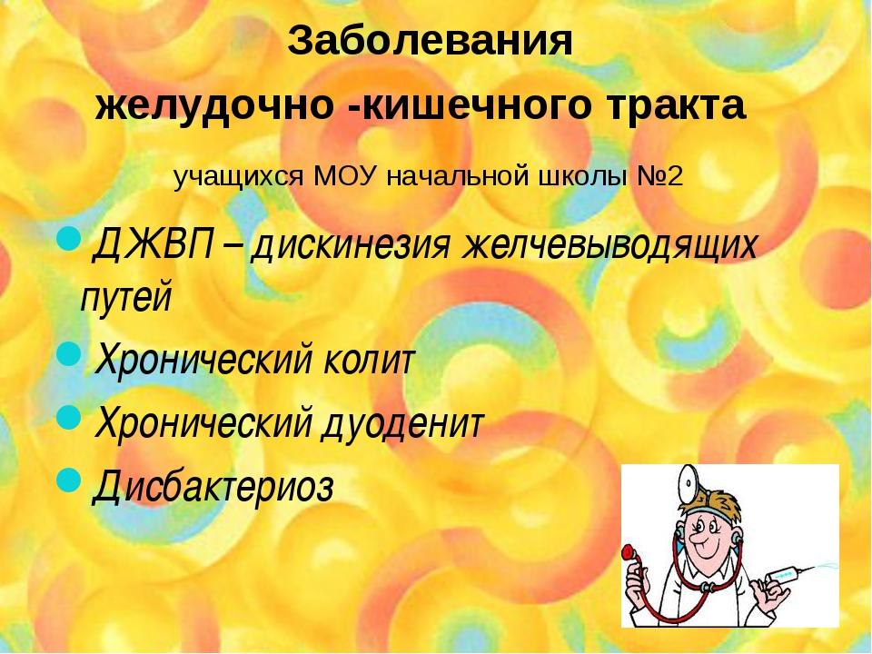 Заболевания желудочно -кишечного тракта учащихся МОУ начальной школы №2 ДЖВП...
