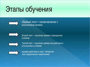Этапы обучения - Первый этап—ознакомление с разучиваемым приемом. Второй эта