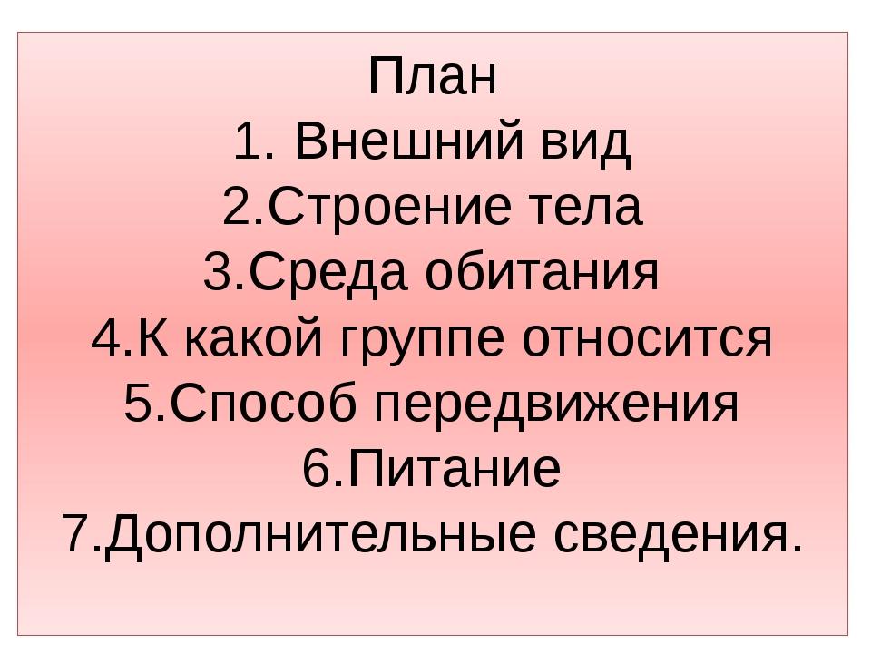 План 1. Внешний вид 2.Строение тела 3.Среда обитания 4.К какой группе относит...