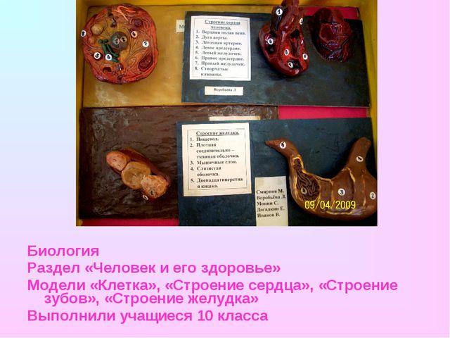 Биология Раздел «Человек и его здоровье» Модели «Клетка», «Строение сердца»,...