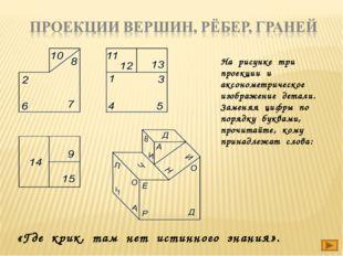 На рисунке три проекции и аксонометрическое изображение детали. Заменяя цифры