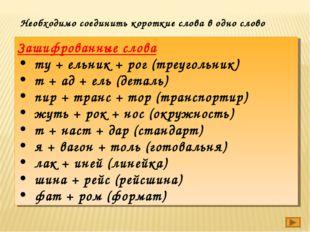Зашифрованные слова ту+ельник+рог (треугольник) т+ад+ель (деталь) пир