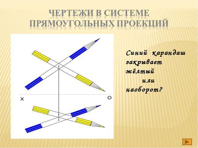 Синий карандаш закрывает жёлтый или наоборот?