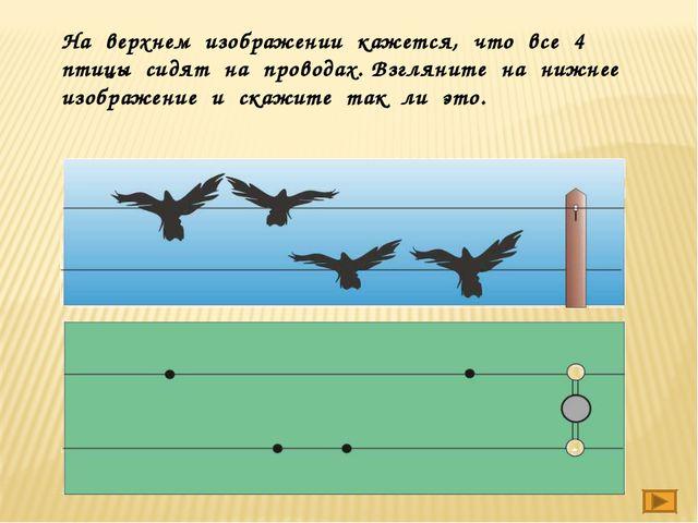 На верхнем изображении кажется, что все 4 птицы сидят на проводах. Взгляните...