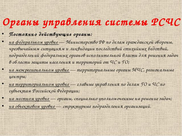 Органы управления системы РСЧС Постоянно действующие органы: на федеральном у...
