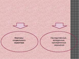 Факторы социального характера Наследственные, врожденные, приобретенные нару