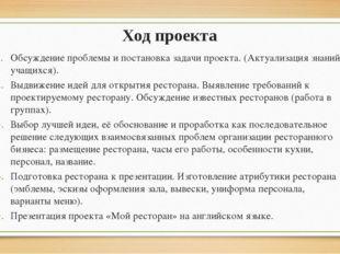 Ход проекта Обсуждение проблемы и постановка задачи проекта. (Актуализация зн