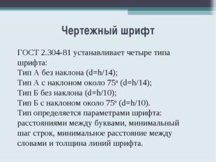 Чертежный шрифт ГОСТ 2.304-81 устанавливает четыре типа шрифта: Тип А без нак