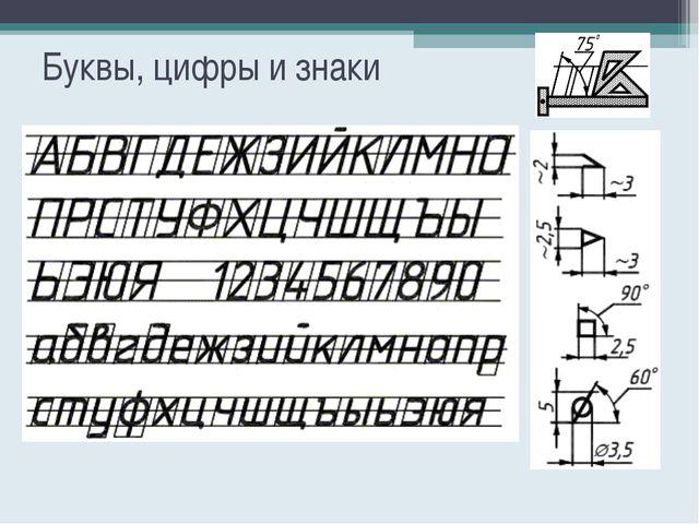 Буквы, цифры и знаки