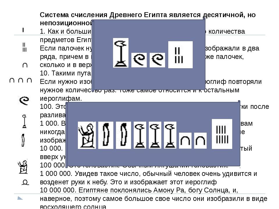 Система счисления Древнего Египта является десятичной, но непозиционной и адд...