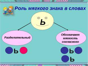 Разделительный Обозначает мягкость согласного Ь Ь Ь Ь Роль мягкого знака в сл