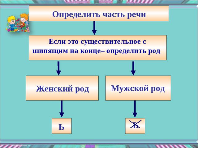 Определить часть речи Женский род Мужской род Ь Ь Если это существительное с...