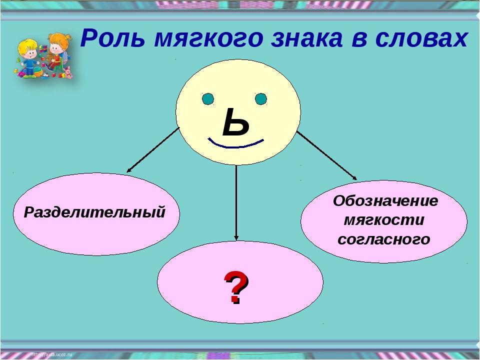 Ь Разделительный Обозначение мягкости согласного ? Роль мягкого знака в словах