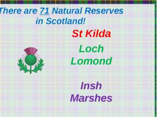 There are 71 Natural Reserves in Scotland! St Kilda Loch Lomond Insh Marshes