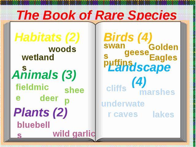 The Book of Rare Species Plants (2) Animals (3) Habitats (2) Birds (4) Lands...