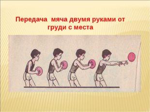 Передача мяча двумя руками от груди с места