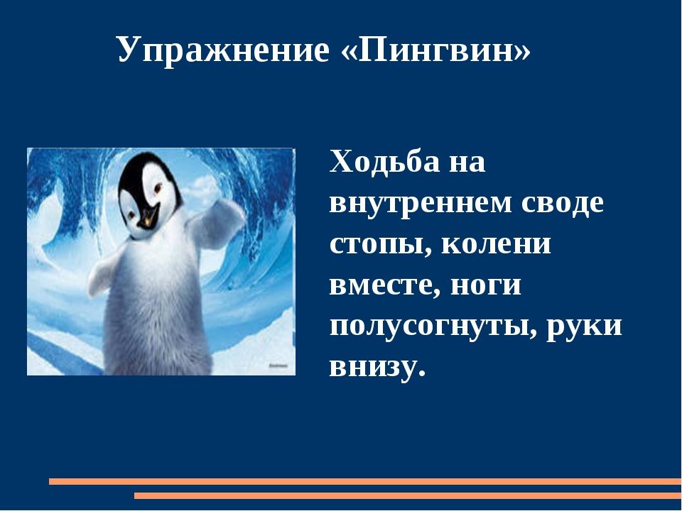 Упражнение «Пингвин» Ходьба на внутреннем своде стопы, колени вместе, ноги п...