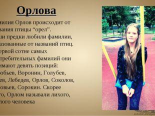 """Фамилия Орлов происходит от названия птицы """"орел"""". Наши предки любили фамилии"""