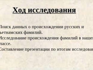Ход исследования Поиск данных о происхождении русских и вьетнамских фамилий.