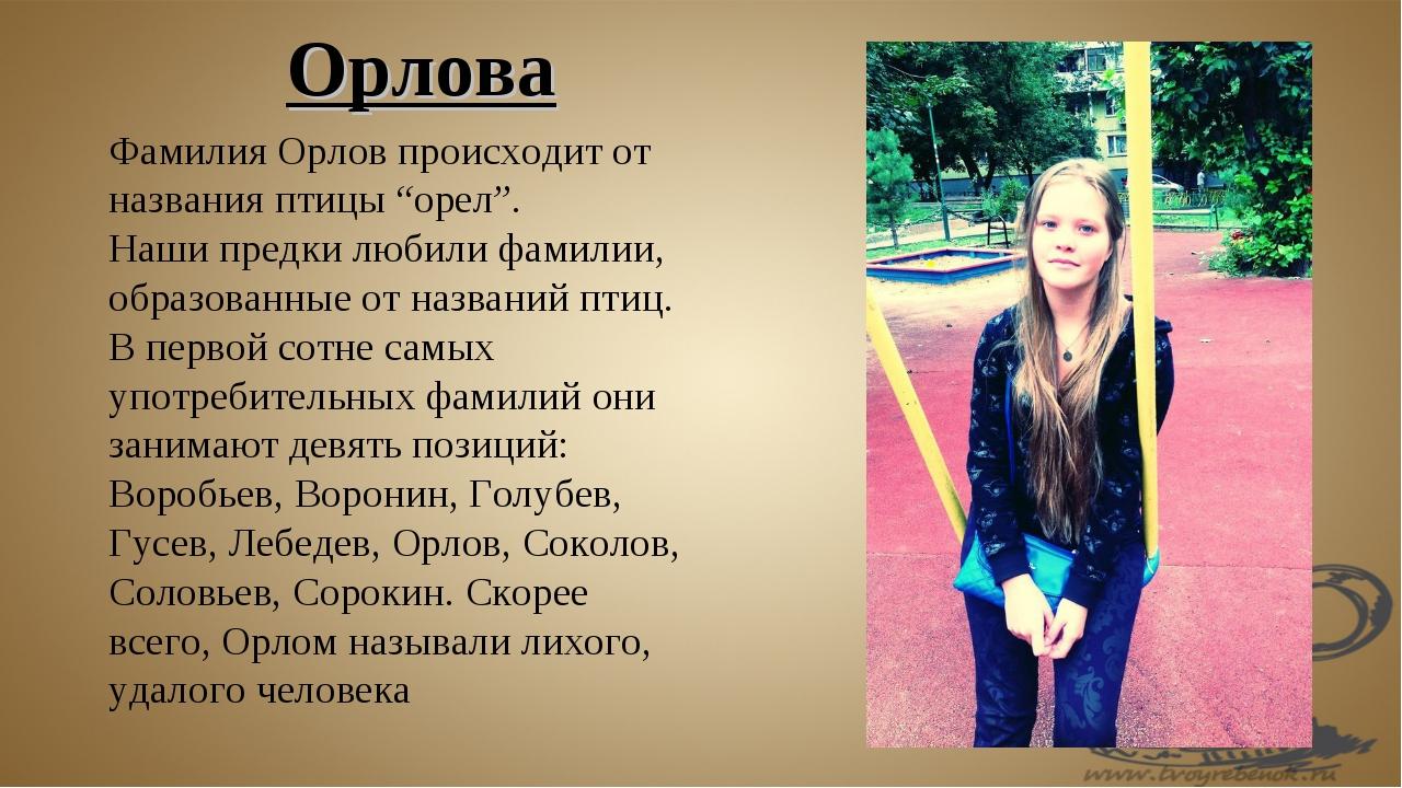 """Фамилия Орлов происходит от названия птицы """"орел"""". Наши предки любили фамилии..."""