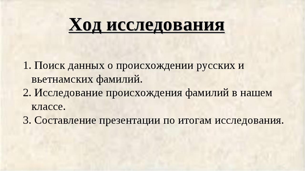 Ход исследования Поиск данных о происхождении русских и вьетнамских фамилий....