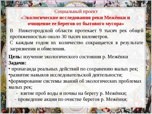 Социальный проект «Экологические исследования реки Межёнки и очищение ее бере...