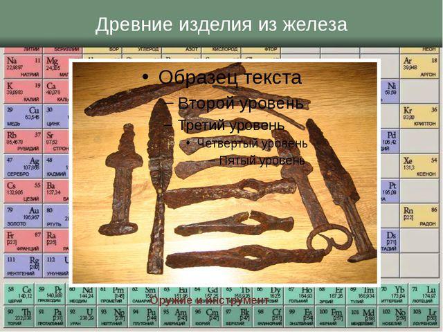 Древние изделия из железа Оружие и инструмент