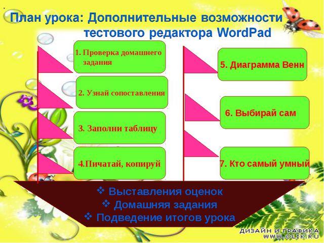 Выставления оценок Домашняя задания Подведение итогов урока 1. Проверка дома...
