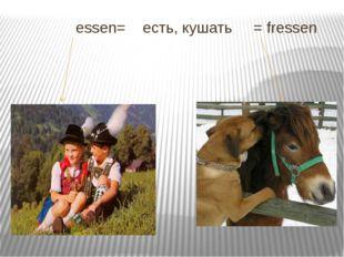 essen= есть, кушать = fressen