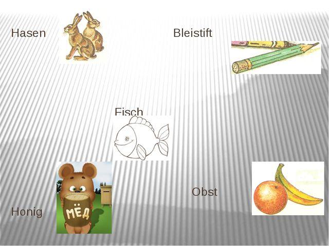 Hasen Bleistift Fisch Obst Honig