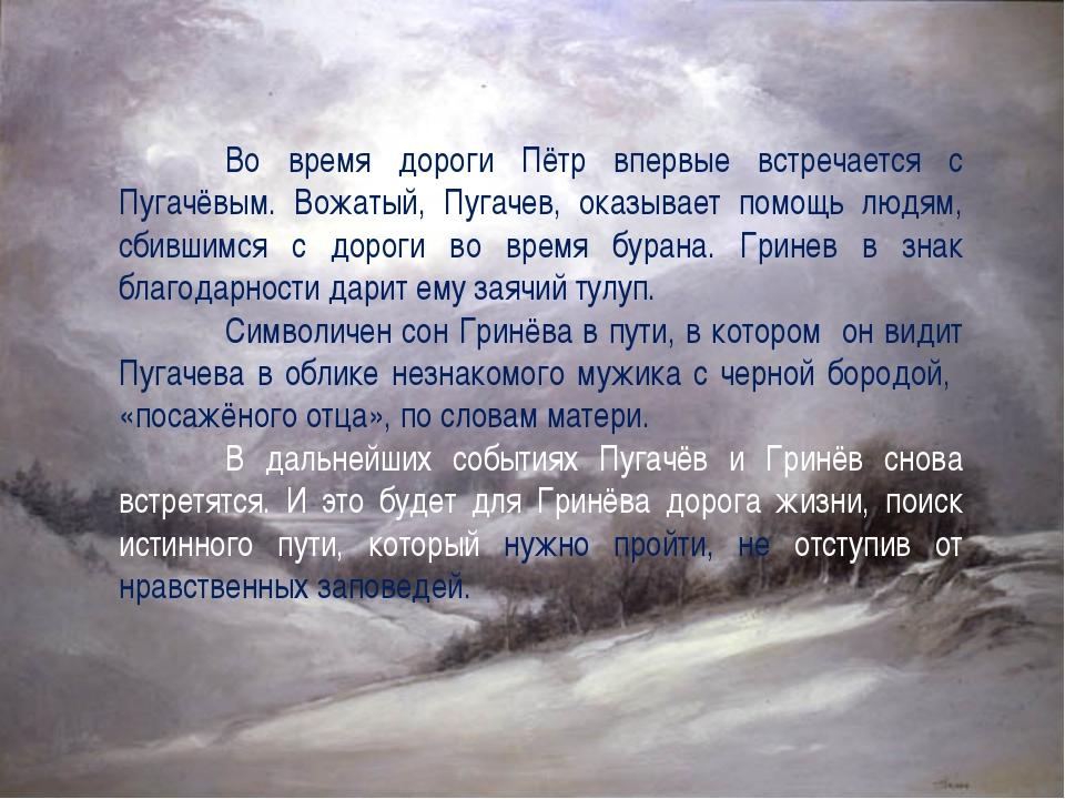 Во время дороги Пётр впервые встречается с Пугачёвым. Вожатый, Пугачев, ок...