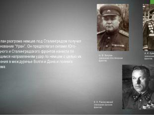 """План разгрома немцев под Сталинградом получил наименование """"Уран"""". Он предпо"""