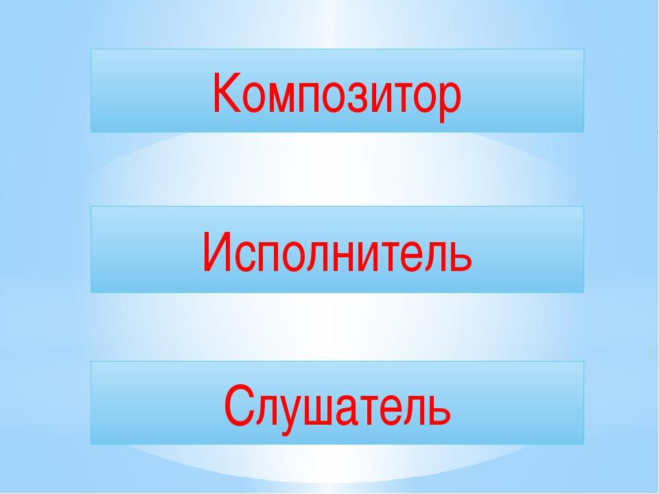 Композитор Исполнитель Слушатель