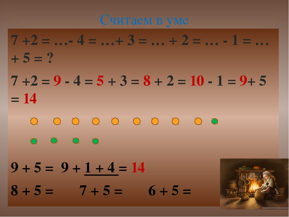 7 +2 = …- 4 = …+ 3 = … + 2 = … - 1 = …+ 5 = ? 7 +2 = 9 - 4 = 5 + 3 = 8 + 2 =...