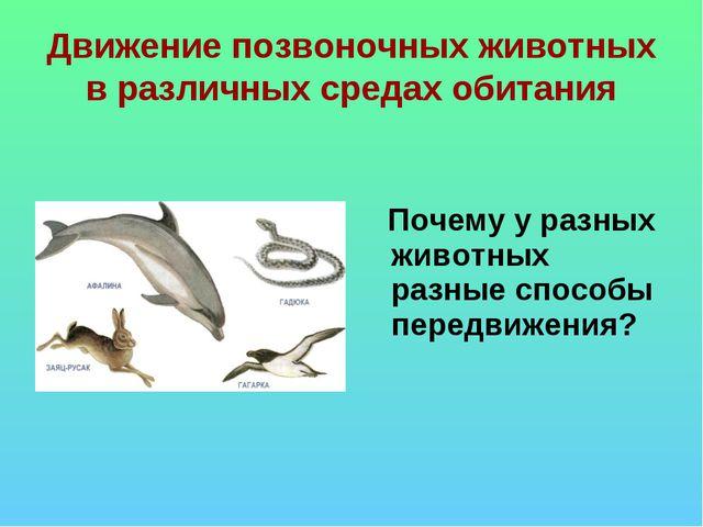 Движение позвоночных животных в различных средах обитания Почему у разных жив...