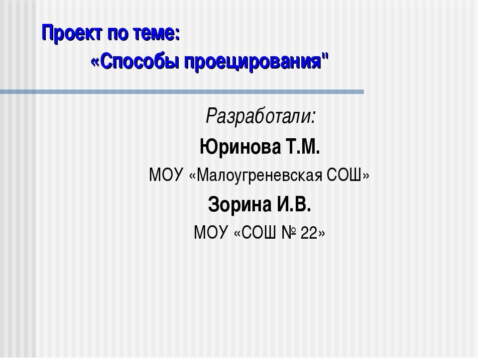 Проект по теме: Разработали: Юринова Т.М. МОУ «Малоугреневская СОШ» Зорина И....