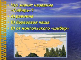 Что значит название «Сибирь»? А) равнина Б) березовая чаща В) от монгольского