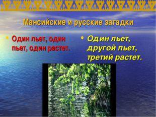 Мансийские и русские загадки Один льет, один пьет, один растет. Один льет, др