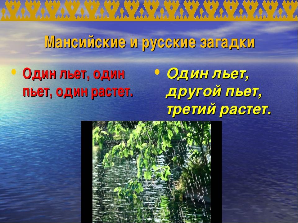 Мансийские и русские загадки Один льет, один пьет, один растет. Один льет, др...