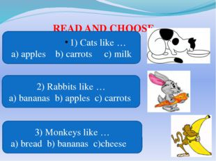 READ AND CHOOSE 1) Cats like … a) apples b) carrots c) milk 2) Rabbits like …