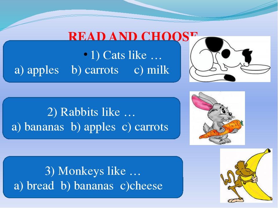 READ AND CHOOSE 1) Cats like … a) apples b) carrots c) milk 2) Rabbits like …...