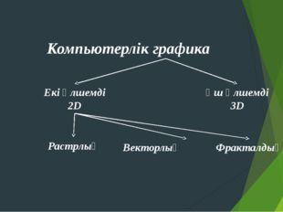 Компьютерлік графика Екі өлшемді 2D Үш өлшемді 3D Растрлық Векторлық Фракталдық