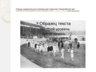 Парад национальных команд при открытии Олимпийских игр Парад национальных ко