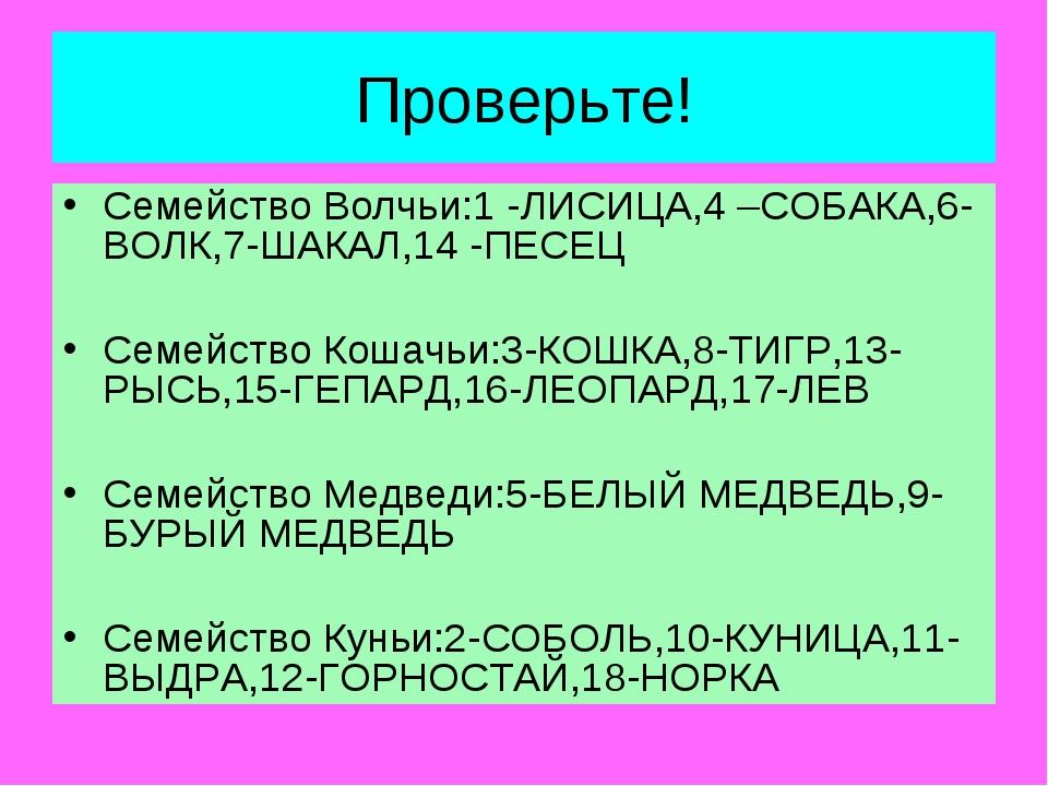 Проверьте! Семейство Волчьи:1 -ЛИСИЦА,4 –СОБАКА,6-ВОЛК,7-ШАКАЛ,14 -ПЕСЕЦ Семе...