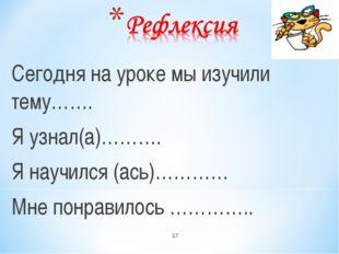 Сегодня на уроке мы изучили тему……. Я узнал(а)………. Я научился (ась)………… Мне п