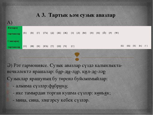 А 3. Тартык һәм сузык авазлар А) Ә) Рәт гармониясе. Сузык авазлар сүздә калы...
